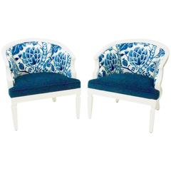 Vintage Hollywood Regency Barrel-Back Chairs (Pair)