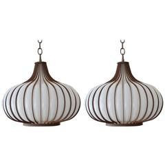 Pair of Blown Glass and Metal Onion Form Lamps