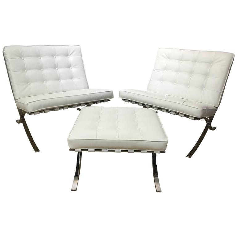 Pair of Barcelona Lounge Chairs and Ottoman after Mies van der Rohe For Sale