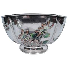 Rare Chinese Silver and Enamel Bowl with Bamboo and Chrysanthemum