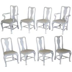 Set of Eight Swedish Painted Chairs with Two Armchairs
