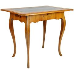 Austrian Fruitwood 19th Century Four-Drawer Leather Top Table