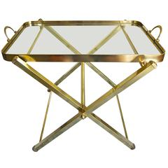 Italian Brass Serving Tray Side or End Table