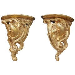 Pair of Italian Gilt Carved Wood Demilune Acanthus Wall Brackets, Circa 1800