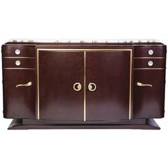 Luxe French Art Deco Buffet or Sideboard in Loupe d'Amboine
