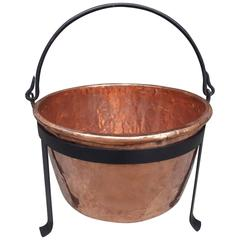 American Copper and Wrought Iron Plantation Cauldron on Stand, circa 1780