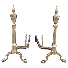 Pair of American Paw Foot Andirons from the Late 18th Century