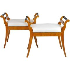 Pair of 1840s Biedermeier Benches or Stools