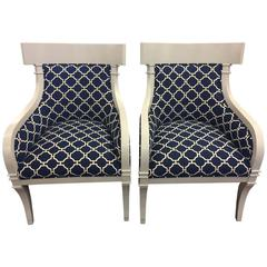 Pair of Gray Lacquered Vintage Chairs, Newly Upholstered