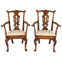 Pair of English Mahogany Georgian Period Provincial Armchairs