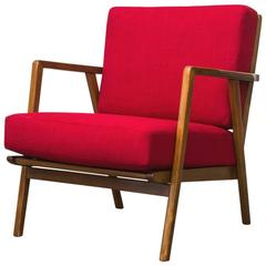 Grete Jalk Style Danish Mid-Century Lounge Chair in Lipstick Red with Spindle Ba