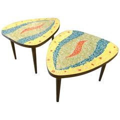 Whimsical Pair of Glass Mosaic-Topped Mid Century Occasional Tables  C.1960s
