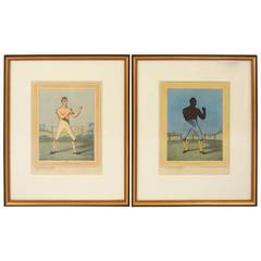 Pair of English Colored Engravings of Boxers, after Anthony Noseda