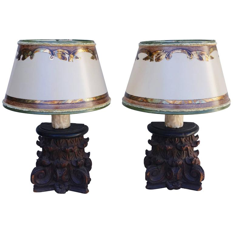 19th Century Italian Petite Capitals with Custom Painted Parchment Shades