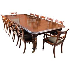 Antique Victorian Dining Table, circa 1850 and 12 Chairs