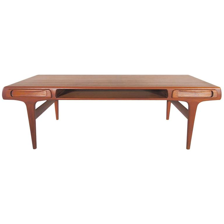 Large Mid-20th Century Teak Coffee Table Attributed to Johannes Andersen