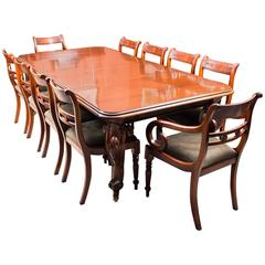 Antique Victorian Dining Table and Ten Tulip Back Chairs