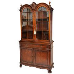 1900s American Two-Door Display Walnut Cabinet