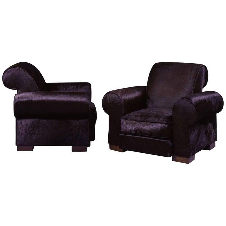 Marc du Plantier, Rare Pair of Comfortable Armchairs, circa 1936 For Sale