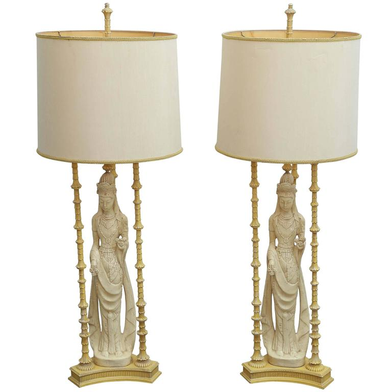 Mid-Century Modern Manner of James Mont Quan Yin Asian Pair of Lamps