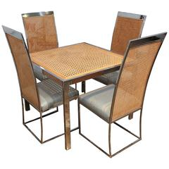 Milo Baughman Vintage Mid-Century Chrome, Glass and Wicker Game Table