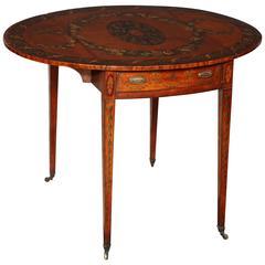 George III Satinwood Painted Pembroke Table