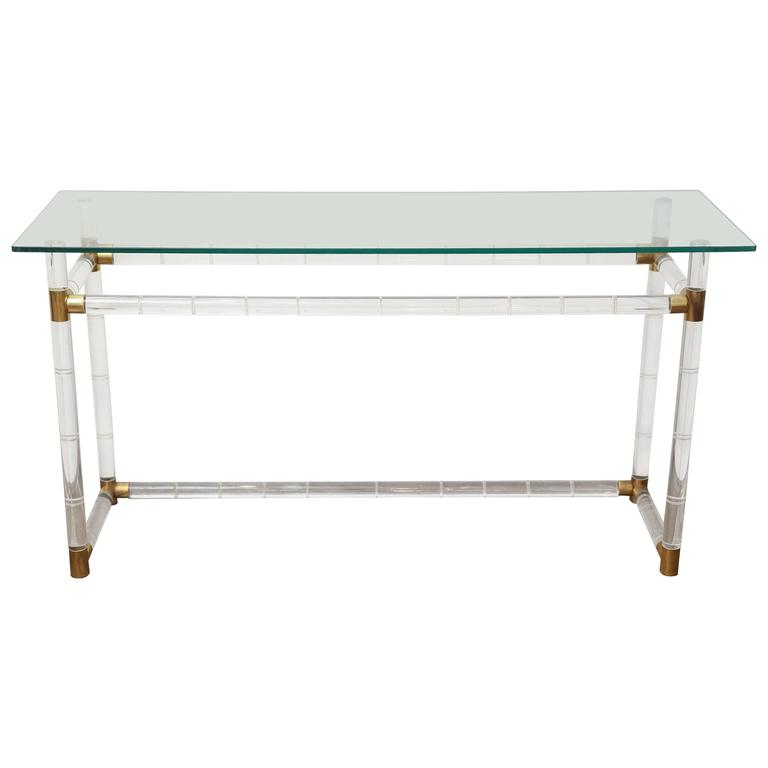 Mid Century Modern Bamboo Style Lucite Brass Console Table Charles Hollis Jones