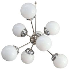 Mid-Century Modern Sciolari Style 8 White Globe & Chrome Sputnik Chandelier
