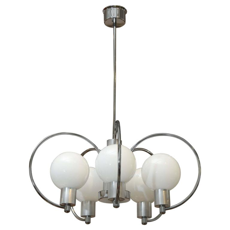 Mid-Century Modern Chrome Five-Light Scrolled Chandelier with Glass Globes
