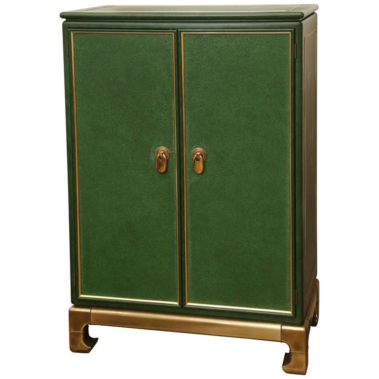 Signed Mastercraft Hollywood Glam Lacquered Brass And Emerald Leather Cabinet At 1stdibs