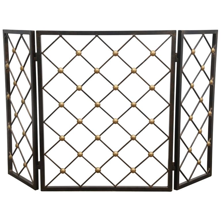 Jean Royere Style Wrought Iron And Brass Tour Eiffel Folding Fire Screen At 1stdibs