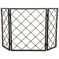 Hollywood Glam Wrought Iron and Brass Fire Screen After Jean Royere