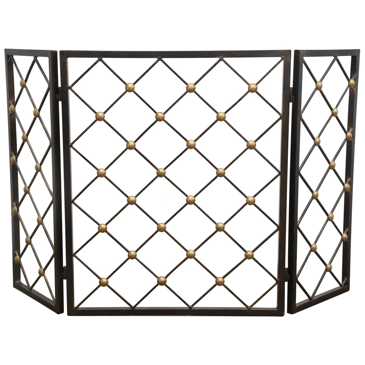 Jean Royere Style Wrought Iron And Brass Tour Eiffel Folding Fire Screen For Sale At 1stdibs