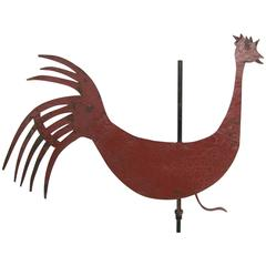 Early Folk Art Metal Rooster on Stand