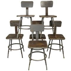 Industrial Metal Machine Age Shop Stools from Schrade Knife Factory in NY