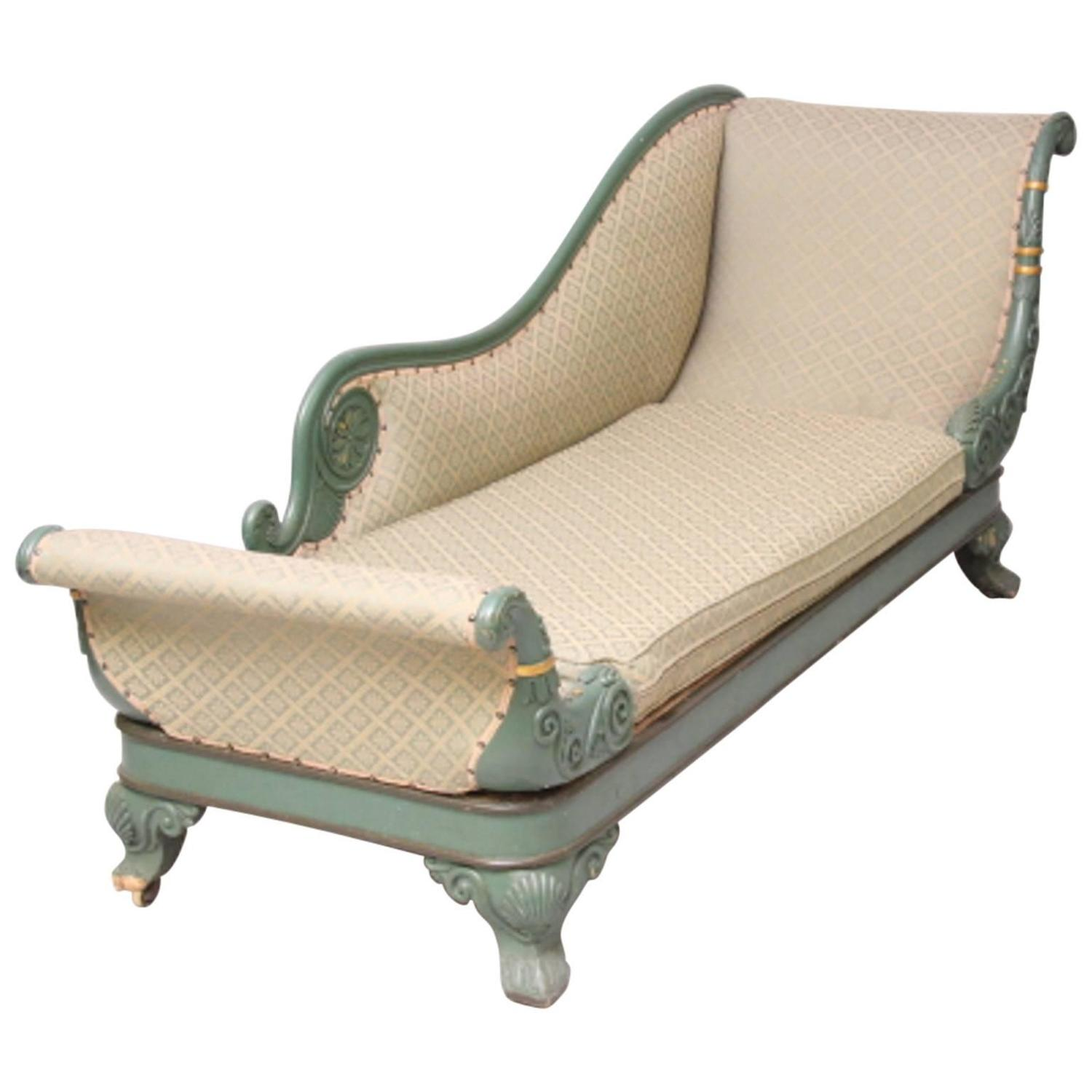 Antique 19th century painted chaise longue for sale at 1stdibs for Antique chaise longue for sale