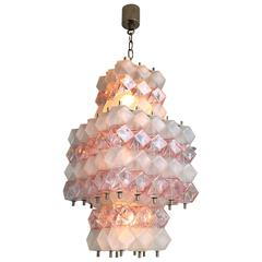1950s or 1960s Pink Italian Chandelier from Murano