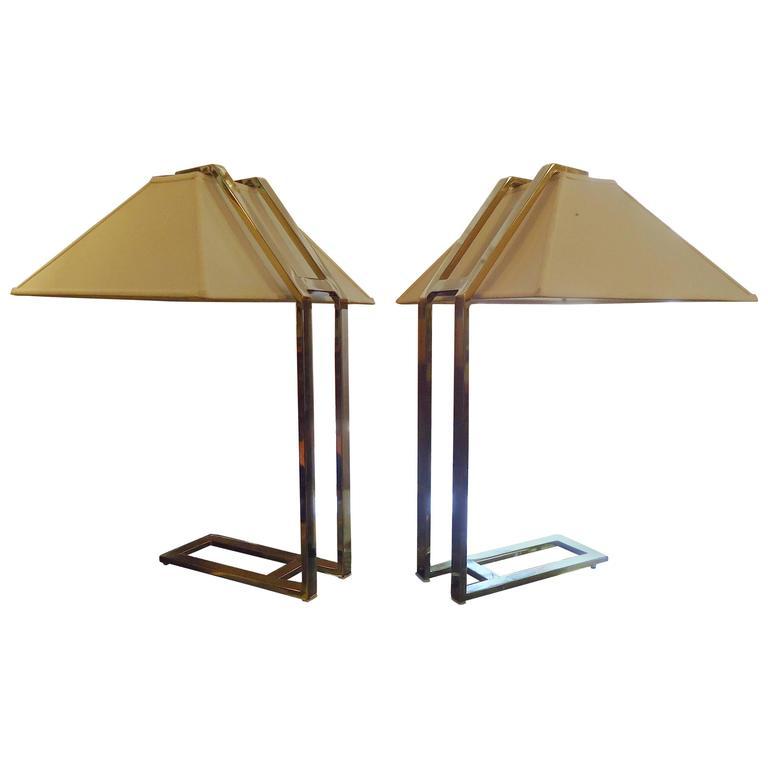 Unique Mid-Century Brass Table Lamps