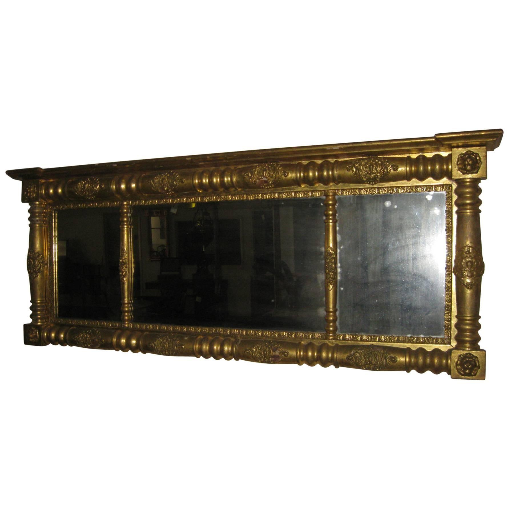19th century Giltwood American Overmantel Mirror