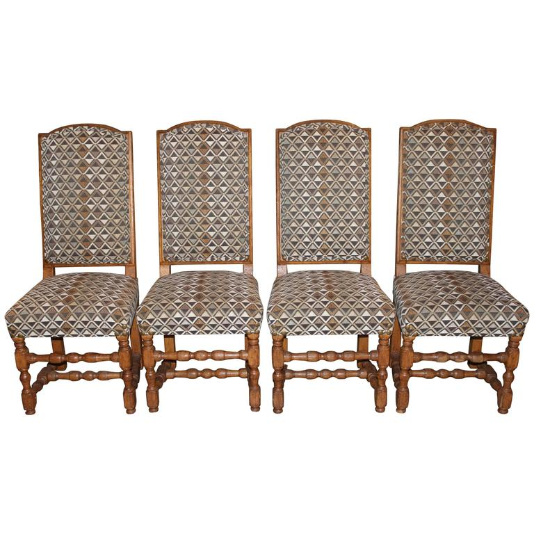 Assembled Set of Four 19th Century French Provincial Walnut Dining Chairs For Sale