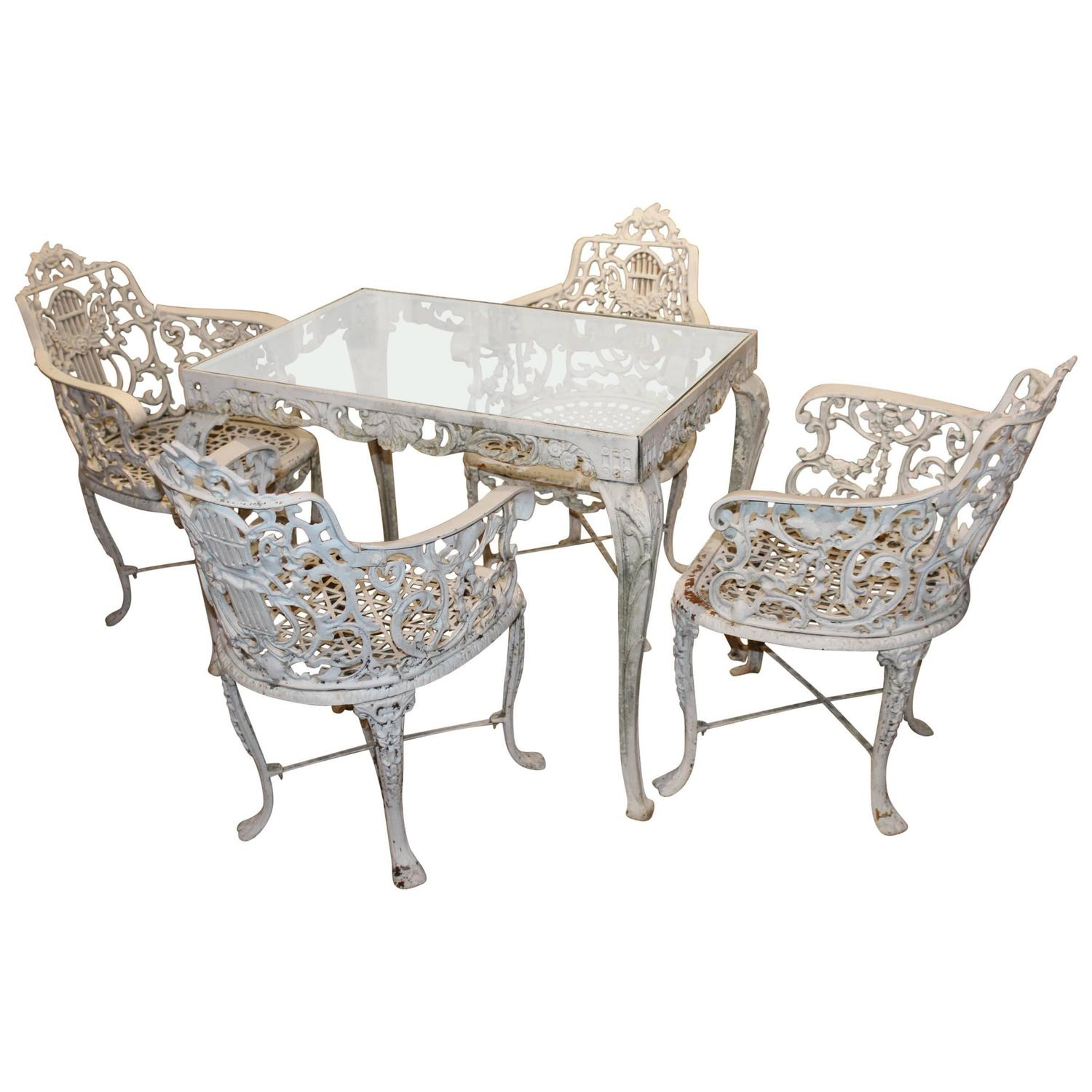 Attributed to robert wood foundry five piece victorian for Cast iron garden furniture