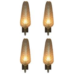 Set of Four of Murano Glass Wall Sconces by Barovier and Toso