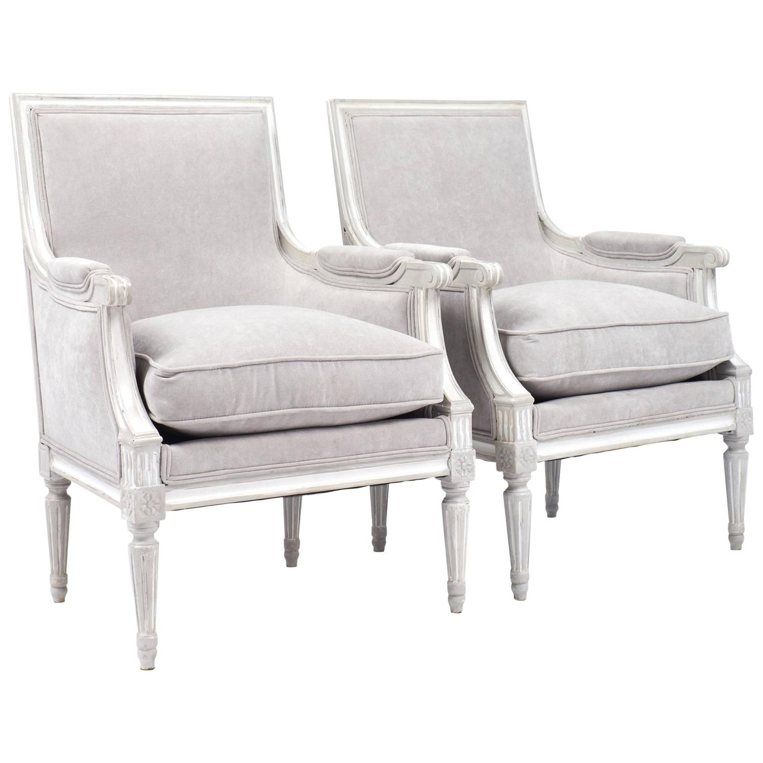 Pair Of Antique French Louis XVI Bergeres At 1stdibs