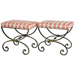 Pair of Wrought Iron and Brass Vintage Benches