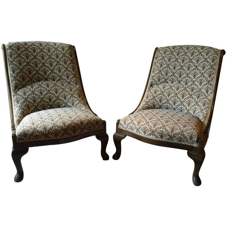 Beautiful Antique Nursing Chairs Armchairs Button Back Solid Pair 1 - Beautiful Antique Nursing Chairs Armchairs Button Back Solid Pair