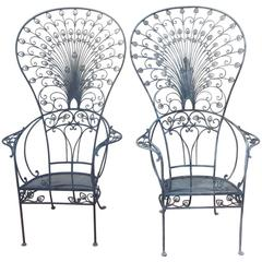 Salterini Peacock Wrought Iron Rare Chairs