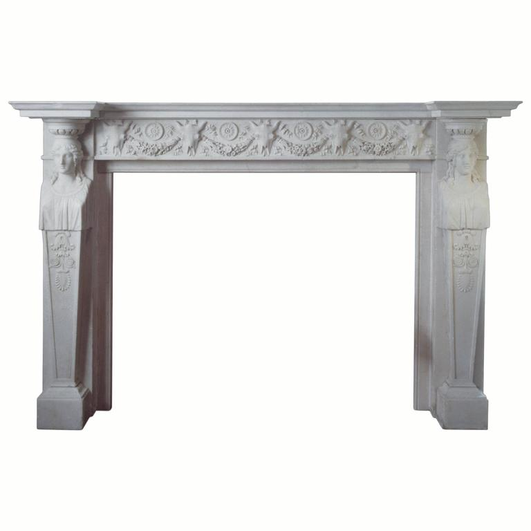 19th Century Regency Mantel with Carving of Faces and Bull Masks 'Pattern 11'