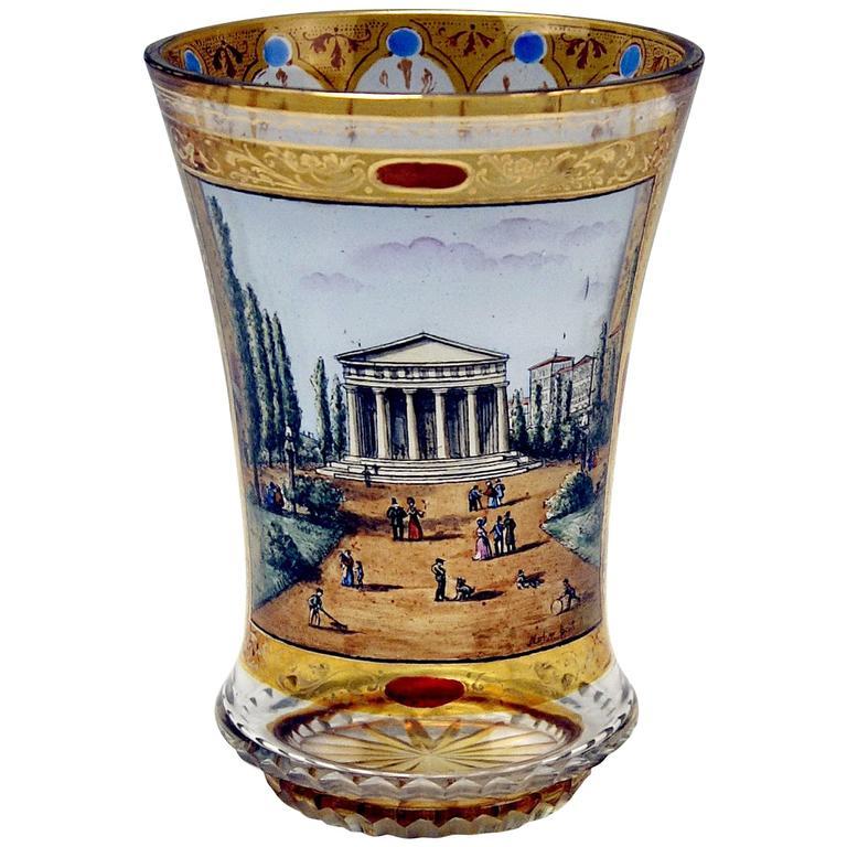 Glass Painted Biedermeier Beaker Theseus Temple Vienna Follower G.Mohn / c.1840