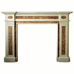 19th Century Reproduction Georgian Mantel in Statuary and Brocatella Marble