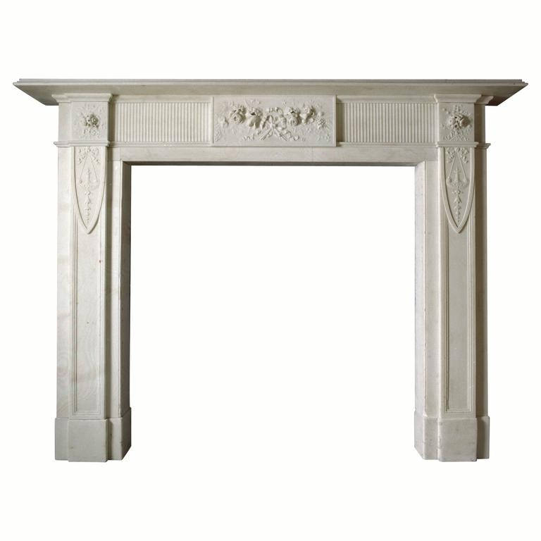 19th Century Regency Reproduction Mantel in Statuary Marble